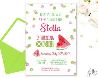 Watermelon Birthday Invitation Printable, Girl First Birthday Party Invite, Summer Birthday Invite, Custom Downloadable Birthday Invitation