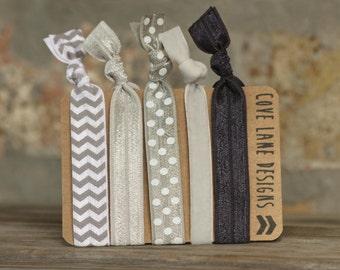 Five Shades of Grey Elastic Hair Ties Ponytail Holders Yoga Hair Band No Crease Knotted Hair Tie