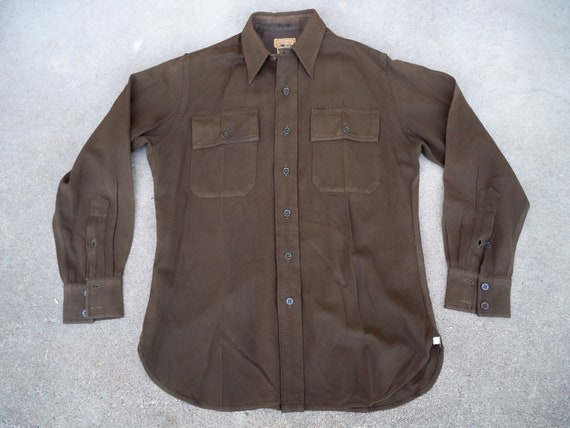 Gabardine WWII Made Regulation in Vintage Shirt Large Size USA Army Wool 1940s US Men's Uniform Military 8nqACTn