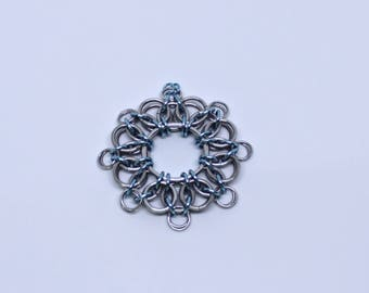 Silver and Blue Helm Chainmaille Snowflake Ornament