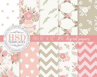 Pink Beige Shabby Chic Digital Scrapbook Papers - Floral Digital Paper Pack - Digital Backgrounds - Chevron Digital Paper - DP130