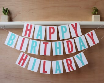 Happy Birthday Banner - Personalized Birthday Sign with Name - Custom Colors - Party Photo Prop