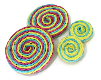 Lollipop Vintage Cabochons - 6 in YOUR CHOICE of Sizes and Color for Jewelry Supplies Button Making Scrapbooking