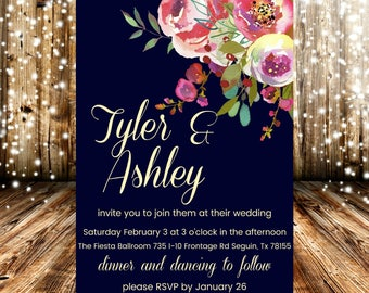 Navy Pink Yellow Floral Wedding Invitation