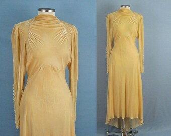 1930s Wedding Dress / 30s Wedding Dress / 30s Silk Velvet Trained Wedding Gown