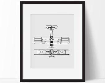 Airplane Office Decor -  Aviation Print - Vintage Airplane Print -  Antique Plane Print - Airplane Nursery Wall Art - Airplane Home Decor