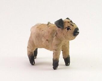 Spun Cotton Vintage Inspired Pug Dog Figure/Ornament (MADE TO ORDER)