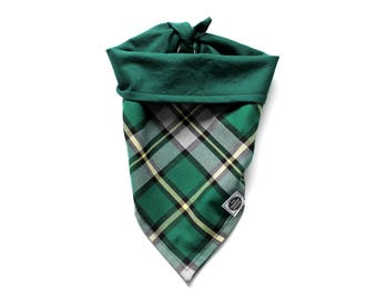 Tie-on Dog Bandana - Cape Breton Provincial Tartan Plaid on a reversible green cotton