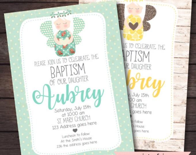 Christening Invitation Girl, Baptism Invitation, Angel Invitations, DIGITAL Invitation, 2 options