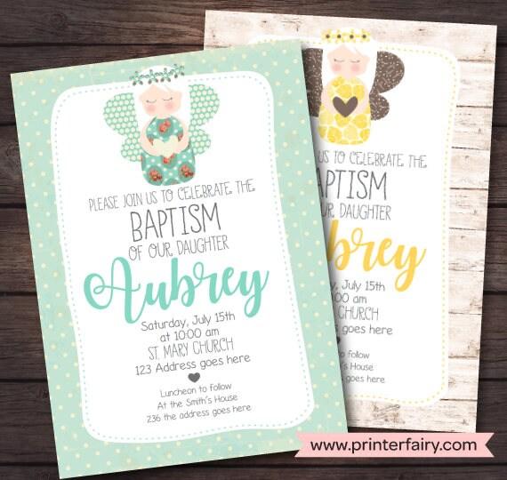 Top Christening Invitation Girl, Baptism Invitation, Angel Invitations  JV93