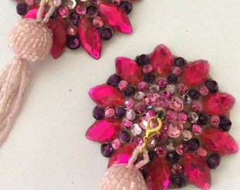 Fuchsia, pink and violet rhinestoned pasties with pink removable tassel