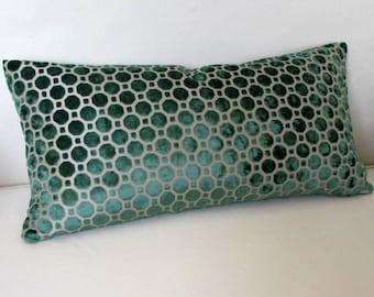 EMERALD  Raised Velvet decorative designer pillow 13x26