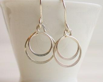 Petite Double Hoop Earrings. Small Hoop Earrings.  Small Gold Hoop Earrings. Rose Gold Hoops. Dangle Earring.
