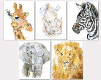African Animal Watercolor Art Prints - Safari Childrens Room - Set of 5 Giraffe Rhino Zebra Elephant Lion
