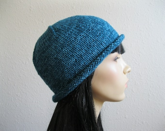 Knitted Beanie Hat Knitted Roll Brim Beanie Hat Teal Turquoise Knit Hat Knitted Womens Beanie Winter Beanie Hat Knit Beanie