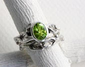 Peridot Leaf Twig Engagement Rings, Silver Twig Ring Set,Oval Peridot Nature Tree Fine Jewelry
