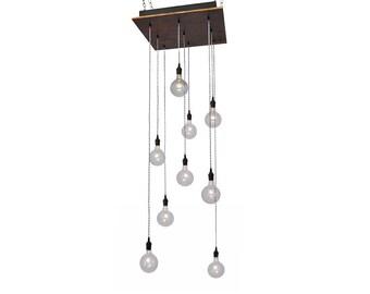 Industrial Globe Pendant Chandelier - Rust Metal Base with Bare Bulb Pendants