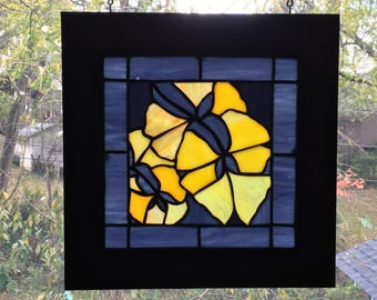 Original autum gingko leaves stained glass panel