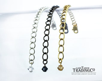 Necklace Extender | Extra Long Necklace | 3 inch, 4 inch, or 5 inch | Silver, Gold, or Gunmetal
