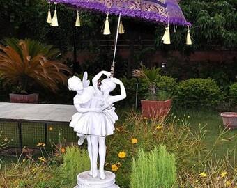 Indian  Handmade Heavy Embroidery Work Patio Sun Parasol Umbrella Summer Sun Protection 24 x 28 Inches Designer