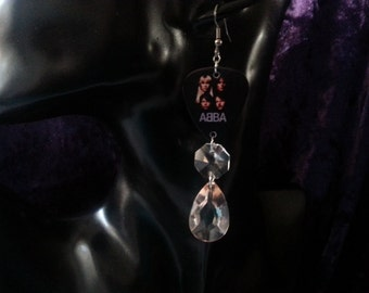 ABBA with chrystal and acrylic drop bead earrings