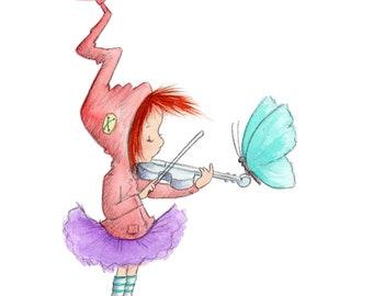 Ciel Moonfrost - Elf jouant le violon - fée Art - Art Print