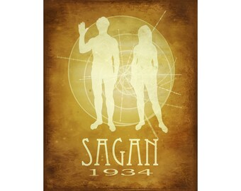 12x18 Carl Sagan Poster, Astronomy Rock Star, Cosmos Art Print, Astronomer STEM Geek Chic Nerd Decor, Pioneer Gold Records, Astrobioloigst