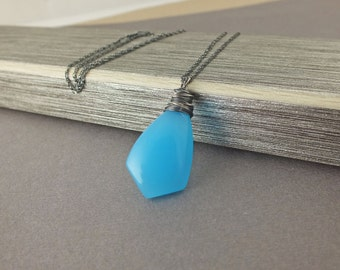 Blue Chalcedony Necklace, Neon Blue Necklace, Neon, Neon Blue, Chalcedony Necklace, Blue Necklace, Chalcedony Necklace, Chalcedony Jewelry