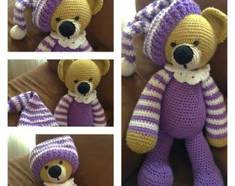 Crochet Amigurumi Toy Sleepytime Bedtime Purple Pajama Teddy Bear Stuffed Animal Plushie Softie