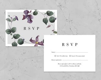 Purple Bloom Floral Wedding RSVP - Printed RSVP - Personalised RSVP - Includes Envelope - Available with or without foil