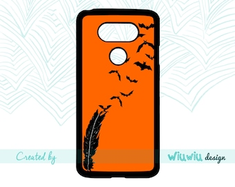 Bat freedom feather Beautiful black bats flying free Halloween Orange phone case for lg phone cover for lg g6, lg g5, lg g4, lg g3 phones