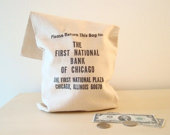 Big vintage money bag, First National Bank of Chicago, 1960s heavy cotton bank bag, official cash bag, coin bag, First National Plaza