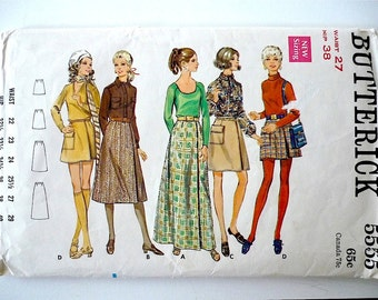 Vintage Sewing Pattern Women's 60's Uncut, Butterick 5555, Skirt in Four Lengths (S)