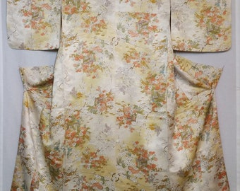 Women's vintage kimono - rinzu damask floral silk with golden bokashi shading