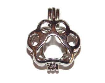 Paw Print Pearl Cage - Hollow Silver Tone Bead Cage Pendant - Fits up to 7.5mm Diameter Bead / Stone - Pick a Pearl Jewelry Making Supplies