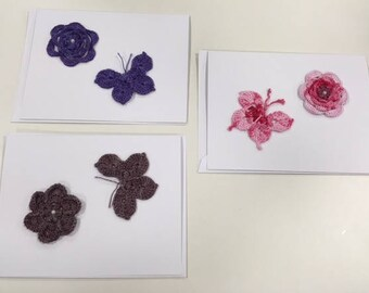 Hand-crocheted Motif Greeting Cards