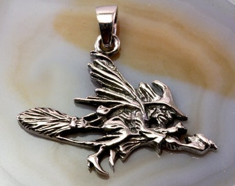 Witch pendant etsy quick view witch 925 sterling silver pendant aloadofball Image collections