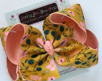 """Hairbows to match Matilda Jane Joanna Gaines Release - Garden Grove - choose 3"""", 4-5"""" or 6"""" bow"""