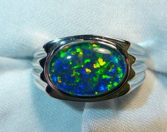 Mens Opal Ring Sterling Silver, Natural Opal Triplet. 13x9mm Oval . item 060711.
