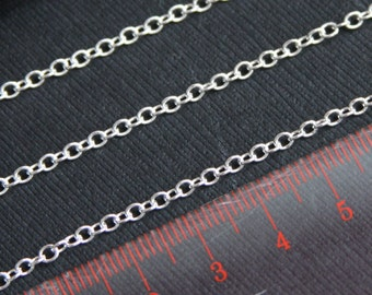 5ft Silver plated chain,round cable chain 2X3mm, small cable chain, welded silver chain, iron chain