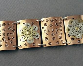 Bloom Copper, Brass and Sterling Silver Link Bracelet