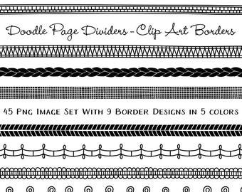 Doodle Border Page Divider Clip Art Download, Border Clipart, Instant Download Digital Images