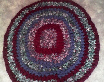 Crocheted round rag rug recycled fabric handmade