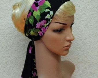 Black & floral head scarf, headband, headscarf, hair covering, self tie hair band 124 x 8 cm
