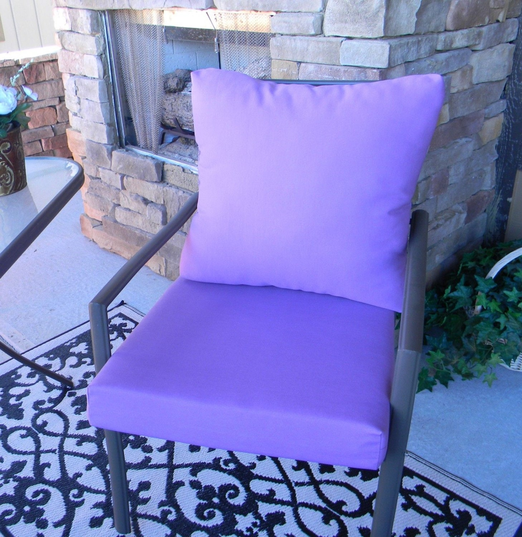 Outdoor Solid Lavender Purple Foam Cushion & Back Pillow Set