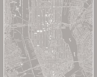 New York City Map New York City Manhattan Street Map Light Gray Print Poster