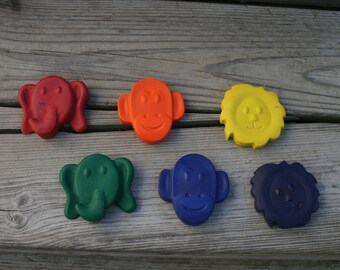 Zoo Animal Crayons - Christmas gift under 10.00 - Stocking Stuffer - Monkey shaped crayons -  Christmas gift For Kids - School party gift