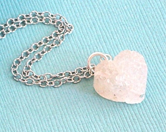 Druzy  Heart Necklace - Quartz,  Sterling Silver