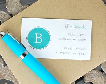 Calling Cards . Custom Calling Cards . Business Cards . Contact Cards . Personalized Calling Cards - Family Monogram