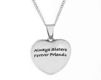 High Polished Stainless Steel Always Sisters Forever Friends, Sister'r Pendant Necklace
